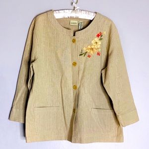 Vintage embroidered classic elements linen top xl